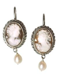 Rare Taupe Cameo Earrings