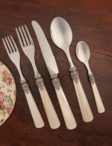 Pearled Stainless Steel Flatware (5 Piece Set)