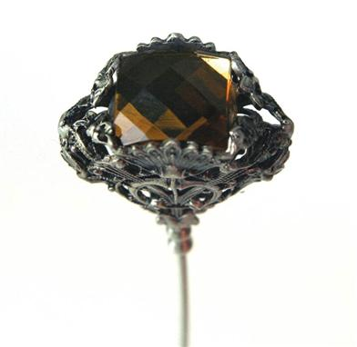 Brown Faceted Gem Hatpin