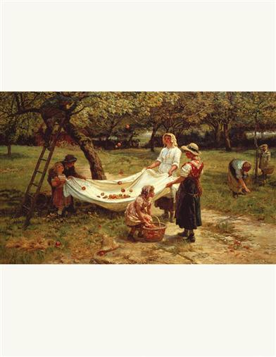Apple Gatherers Framed Print Unframed