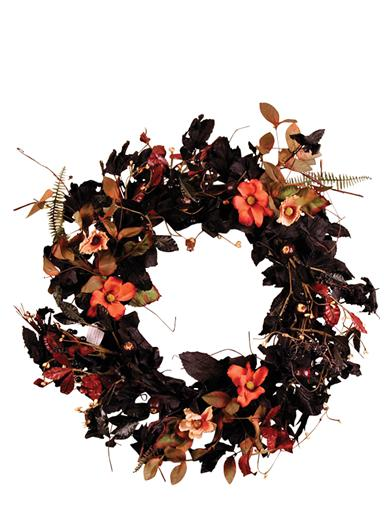 Field Flowers On Black Leaf Wreath