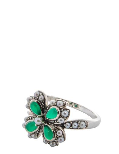 Seed Pearl & Green Agate Serendipity Clover Ring