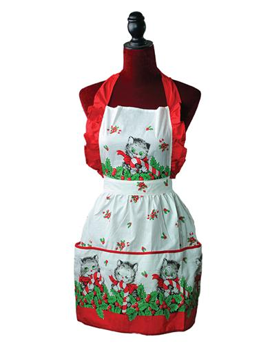 Candy Cane Kitty Pinafore Apron
