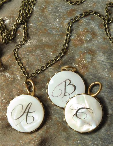 Mother Of Pearl Antique Monogram Pendant