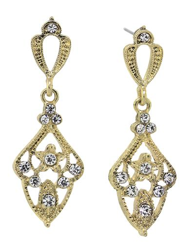 Downton Abbey Crystal Encrusted Drop Earrings