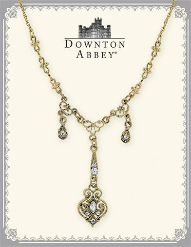 Downton Abbey Crystal Drops Gold Necklace