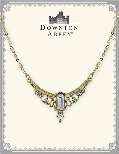 Downton Abbey White Crystal Gilded Necklace