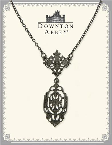 Downton Abbey Jet Filigree Drop Necklace