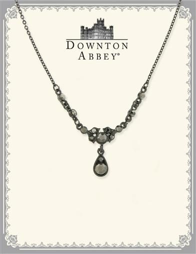 Downton Abbey Hematite Crystal Drop Necklace