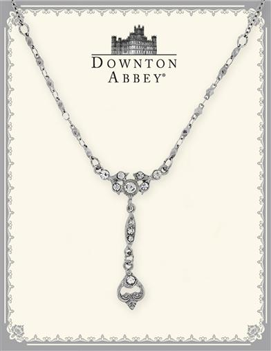 Downton Abbey Silver Crystal Y Necklace
