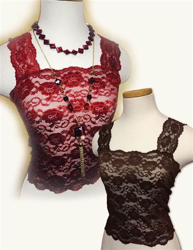 Silky Lace Camisoles (Cabernet & Chocolate Set)