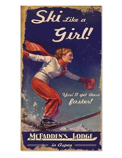 Ski Like A Girl Sign