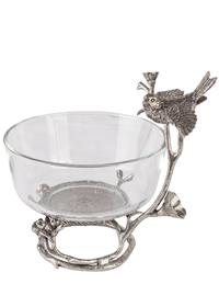 Perched Sparrow Glass Bowl