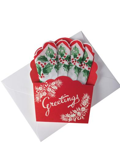 Mailable Hankie (Christmas Basket Holly)