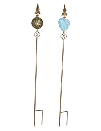 Highborn Blue And Gold Garden Stakes (Set Of 2)