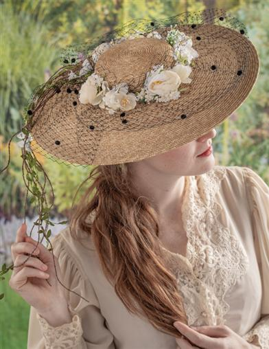 Jeanne Marie Romantic Roses Straw Hat