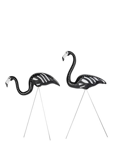 Skeleton Flamingo Yard Stakes (Set Of 2)