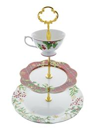 Christmas Holly Tiered Serving Stand