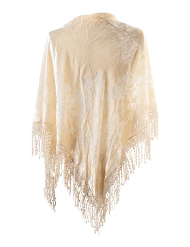 Velvet Brocade Shawl Cream