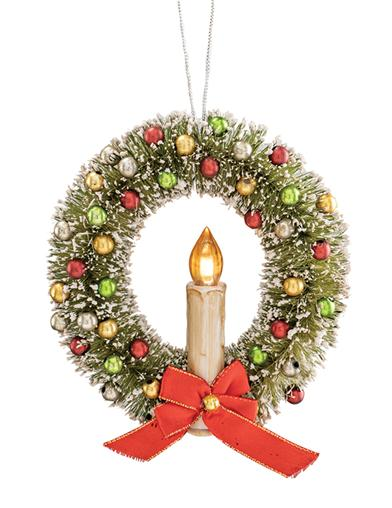 Vintage Bottle Brush Wreath Ornament