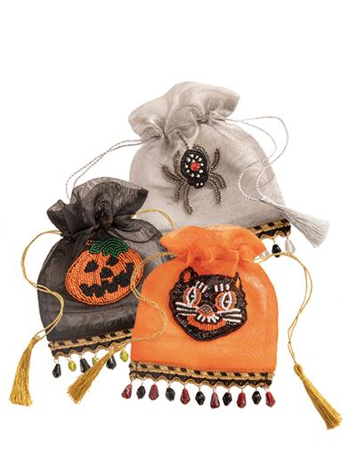 Beaded Halloween Hostess Gift Bags (Set Of 3)