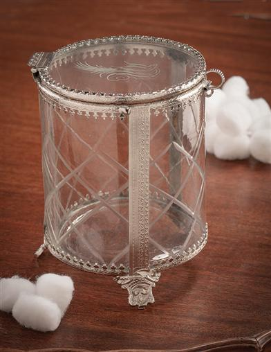 Spencerian Sparrow Etched Glass Box