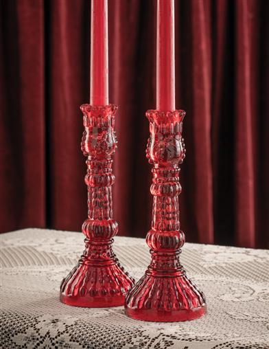 Crimson Berry Candlesticks (Set Of 2)