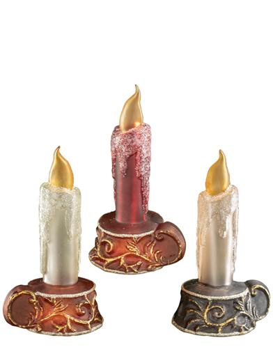 Glistening Taper Candle Ornaments (Set Of 3)