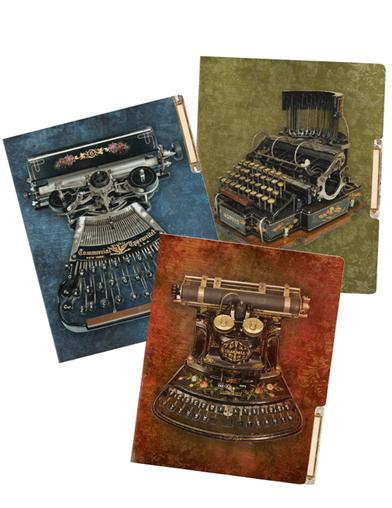 Antique Typewriter File Folders (Set Of 6)