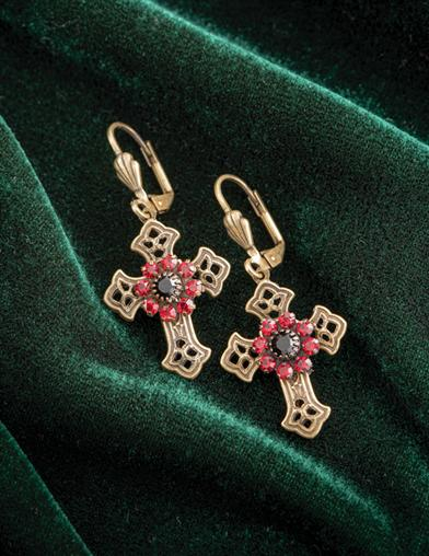 Victorian Gothic Cross Earrings