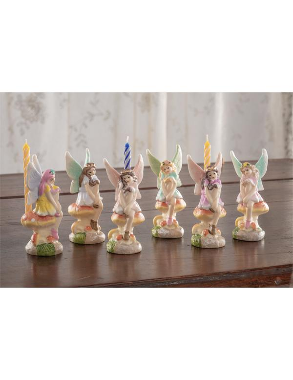 set of 6 Victorian Trading Co Fairy Porcelain Birthday Cake Candle Holders