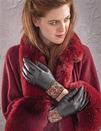 Embroidered Leather Gloves