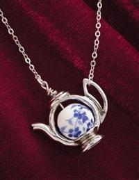 Blue Willow Teapot Necklace