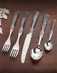 Black Pearled Stainless Steel Flatware