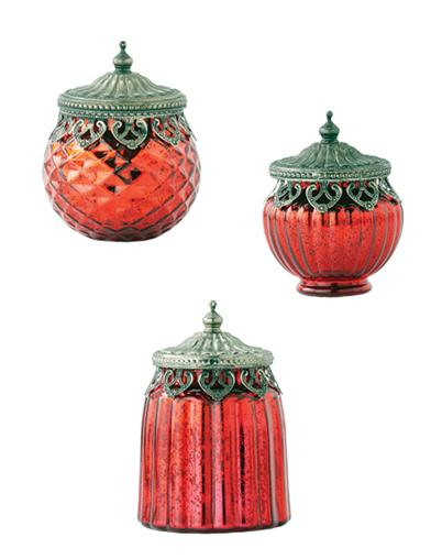 Crimson Keepsake Mercury Glass Jars (Set Of 3)