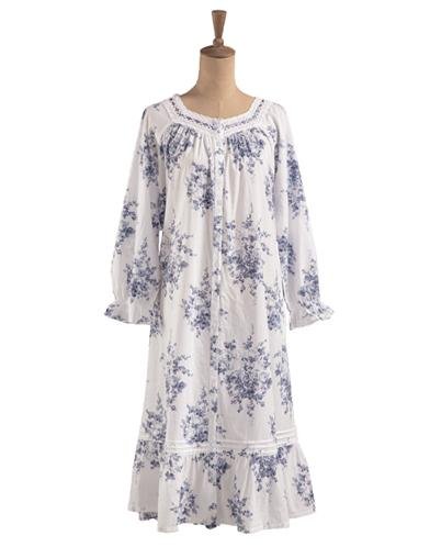 Blue Roses Long-sleeved Cotton Dressing Gown