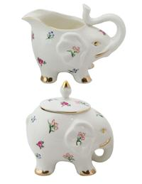 Elephant In The Flowers Sugar And Creamer Set