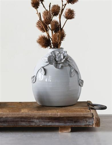 Antiqued Blossom Terracotta Vase