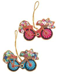 Beaded Bicycle Ornaments (Set Of 2)