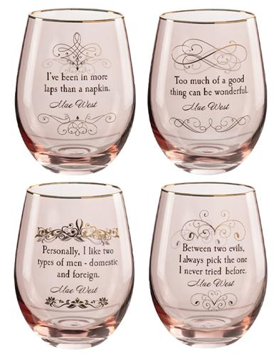 Mae West Wisdom Stemless Wine Glasses (Set Of 4)