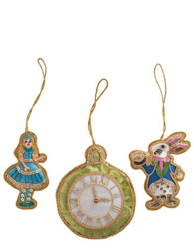 Alice & The White Rabbit Ornaments (Set Of 3)