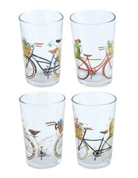 Vintage Bicycle Quartet Juice Glasses (Set Of 4)