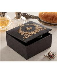 Gold Metal Embroidered Bee Trinket Box