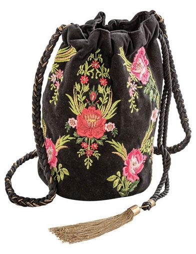 Embroidered Garden Bucket Bag