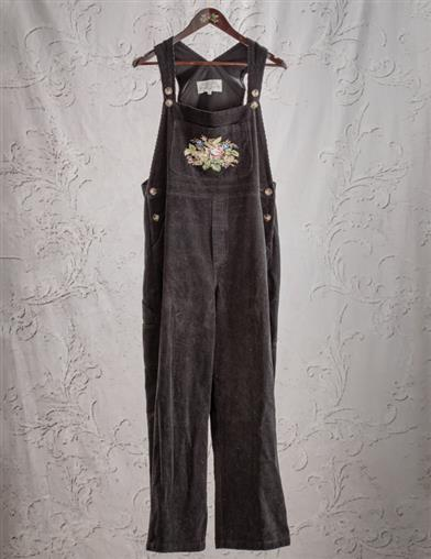 Nadia's Needlepoint Tapestry Corduroy Overalls