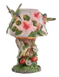 Hummingbirds In Hibiscus Lamp