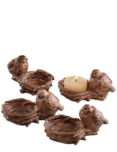 Faux Bois Bird Nest Tealight Holders