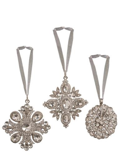 Festive Finery Rhinestone Ornaments (Set Of 3)