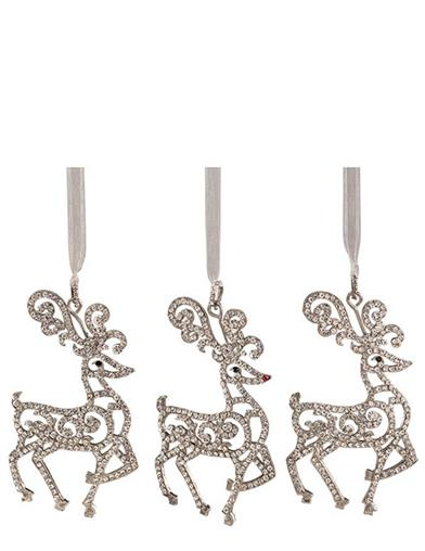Rhinestone Reindeer Ornaments (Set Of 3)