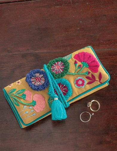 Embroidered Garden Jewelry Roll